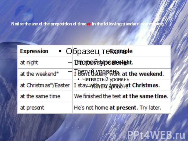 Notice the use of the preposition of timeatin the following standard expressions: