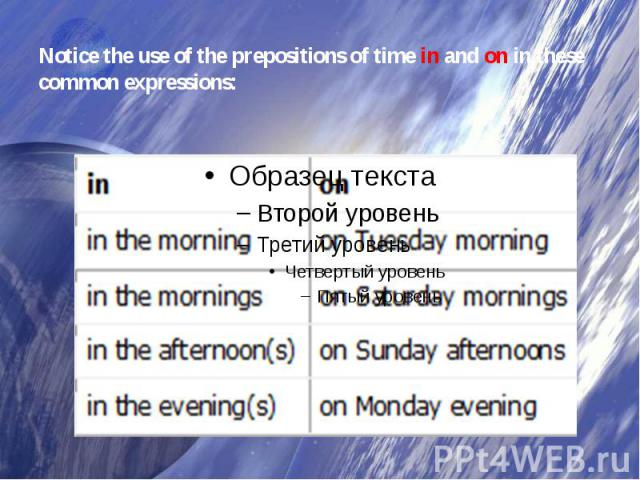 Notice the use of the prepositions of timeinandonin these common expressions: