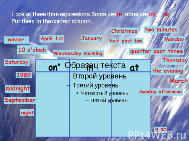 Look at these time expressions. Some use in, some use on or at. Put them in the correct column.