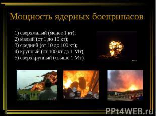 Мощность ядерных боеприпасов 1) сверхмалый (менее 1 кт);2) малый (от 1 до 10 кт)