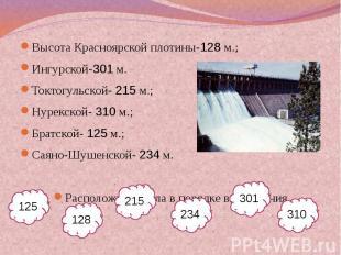 Высота Красноярской плотины-128 м.;Ингурской-301 м.Токтогульской- 215 м.;Нурекск