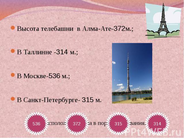 Высота телебашни в Алма-Ате-372м.;В Таллинне -314 м.;В Москве-536 м.;В Санкт-Петербурге- 315 м.Расположите числа в порядке убывания.