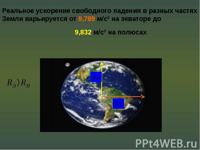 Реальное ускорение свободного падения в разных частях Земли варьируется от 9,789 м/с² на экваторе до 9,832 м/с² на полюсах
