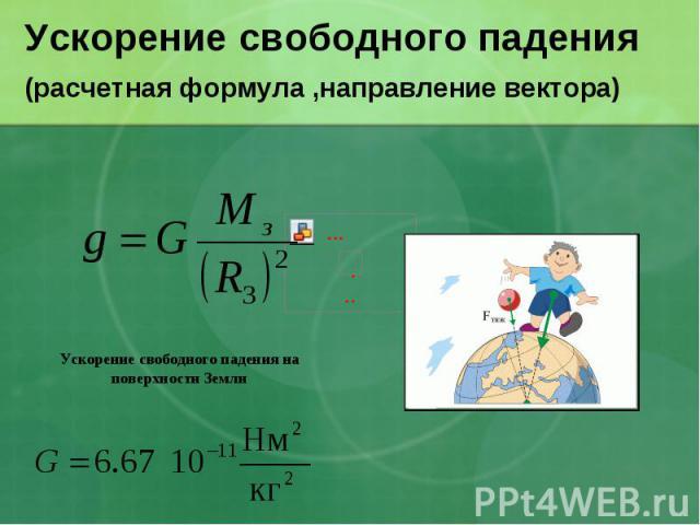 Ускорение свободного падения(расчетная формула ,направление вектора)