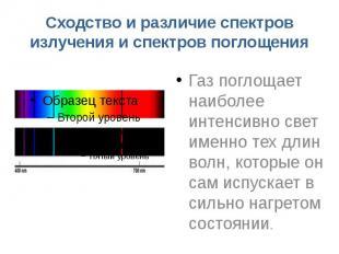 Сходство и различие спектров излучения и спектров поглощения Газ поглощает наибо