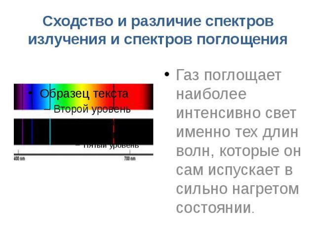 Сходство и различие спектров излучения и спектров поглощения Газ поглощает наиболее интенсивно свет именно тех длин волн, которые он сам испускает в сильно нагретом состоянии.