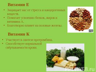 Витамин Е Защищает нас от стресса и канцерогенных веществ.Помогает усвоению белк