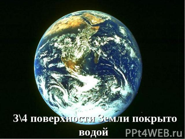 3\4 поверхности Земли покрыто водой