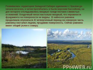 Развивалась территория Западной Сибири одинаково с Уралом до начала мезозоя, а з
