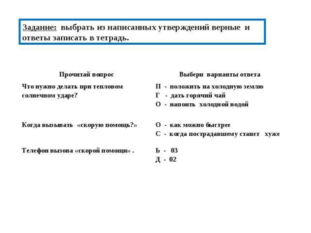 Задание: выбрать из написанных утверждений верные и ответы записать в тетрадь.