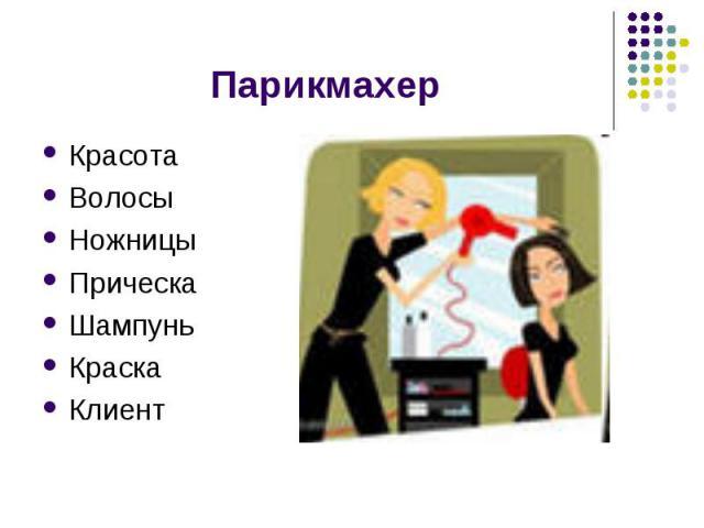 Парикмахер КрасотаВолосыНожницыПрическаШампуньКраскаКлиент
