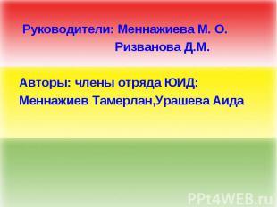 Руководители: Меннажиева М. О. Ризванова Д.М. Авторы: члены отряда ЮИД: Меннажие
