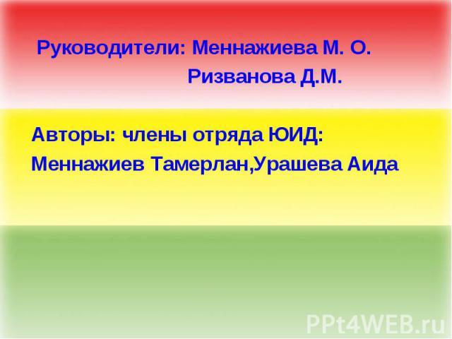 Руководители: Меннажиева М. О. Ризванова Д.М. Авторы: члены отряда ЮИД: Меннажиев Тамерлан,Урашева Аида