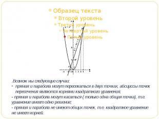 .Возможны следующие случаи:прямая и парабола могут пересекаться в двух точках, а