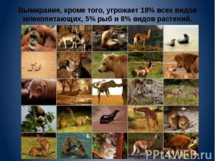 Вымирание, кроме того, угрожает 18% всех видов млекопитающих, 5% рыб и 8% видов
