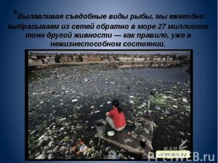 *Вылавливая съедобные виды рыбы, мы ежегодно выбрасываем из сетей обратно в море