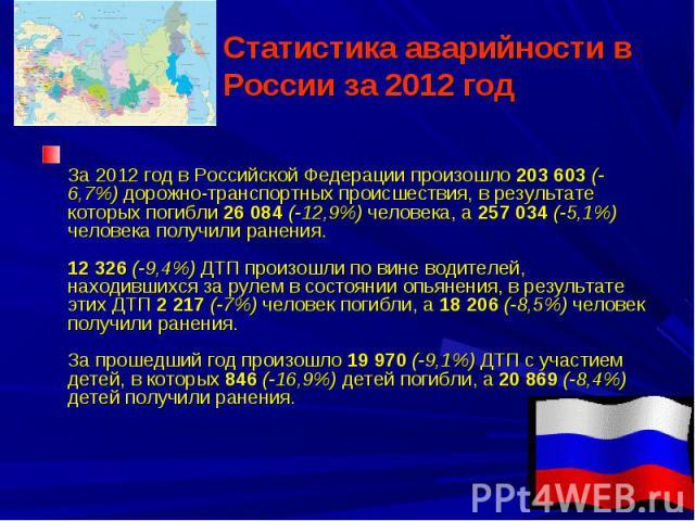 Статистика аварийности в России за 2012 год За 2012 год в Российской Федерации произошло 203 603 (-6,7%) дорожно-транспортных происшествия, в результате которых погибли 26 084 (-12,9%) человека, а 257 034 (-5,1%) человека получили ранения.12 326 (-9…