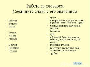 Работа со словаремСоедините слово с его значением Баштан Волость КавунКухольЛева