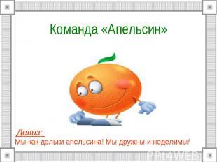 Команда «Апельсин» Девиз: Мы как дольки апельсина! Мы дружны и неделимы!