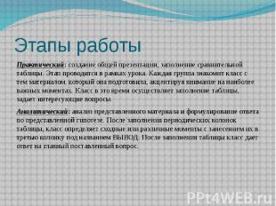 Этапы работы Практический:создание общей презентации, заполнение сравнительной