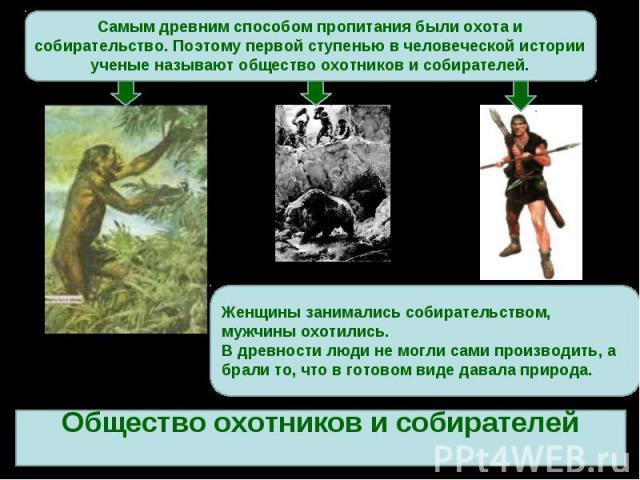 Самым древним способом пропитания были охота и собирательство. Поэтому первой ступенью в человеческой истории ученые называют общество охотников и собирателей.Женщины занимались собирательством, мужчины охотились.В древности люди не могли сами произ…