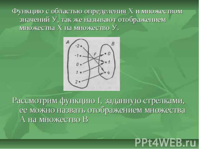 Функцию с областью определения Х и множеством значений У, так же называют отображением множества Х на множество У.Рассмотрим функцию f, заданную стрелками, ее можно назвать отображением множества А на множество В