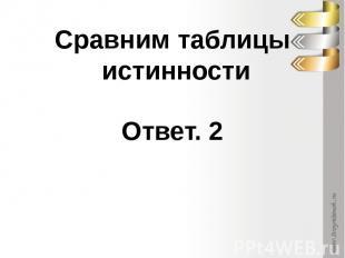 Сравним таблицы истинностиОтвет. 2