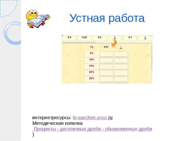 Устная работа интернетресурсы le-savchen.ucoz.ru Методическая копилка Проценты - десятичные дроби - обыкновенные дроби)