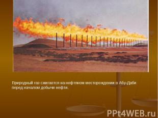 Природный газ сжигается на нефтяном месторождении в Абу-Даби перед началом добыч