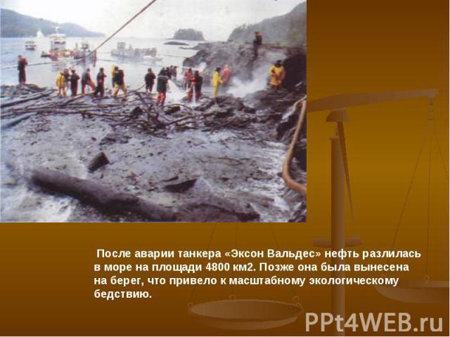 После аварии танкера «Эксон Вальдес» нефть разлилась в море на площади 4800 км2. Позже она была вынесена на берег, что привело к масштабному экологическому бедствию.