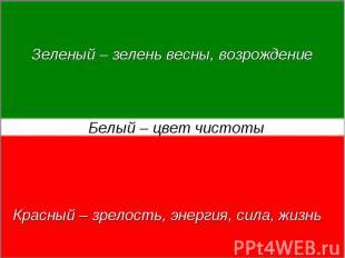 Зеленый – зелень весны, возрождениеБелый – цвет чистотыКрасный – зрелость, энерг