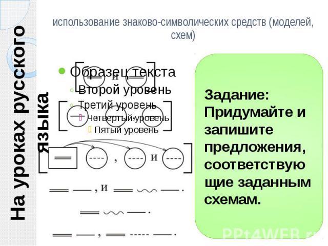 На уроках русского языка использование знаково-символических средств (моделей, схем) Задание: Придумайте и запишите предложения, соответствующие заданным схемам.