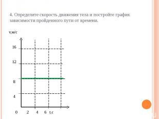 4. Определите скорость движения тела и постройте график зависимости пройденного