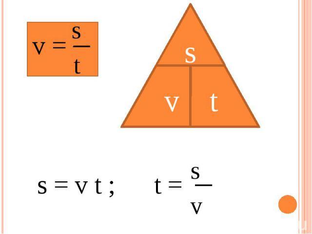 s = v t ; s t s v
