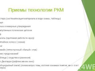 Приемы технологии РКМ Кластера (систематизация материала в виде схемы, таблицы)И