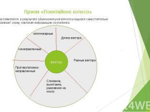 Прием «Понятийное колесо» Схема появляется в результате объяснения учителя или у