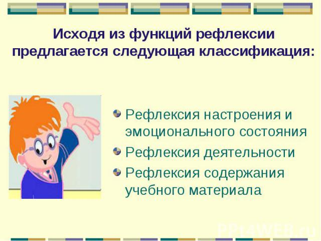 Исходя из функций рефлексии предлагается следующая классификация: Рефлексия настроения и эмоционального состоянияРефлексия деятельности Рефлексия содержания учебного материала