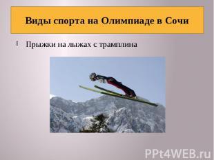 Виды спорта на Олимпиаде в Сочи Прыжки на лыжах с трамплина
