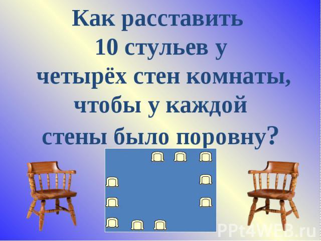 Как расставить 10 стульев у четырёх стен комнаты, чтобы у каждой стены было поровну?