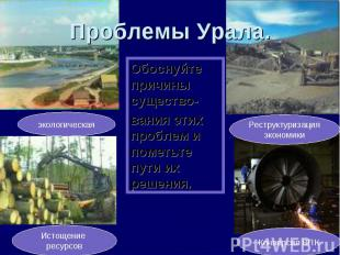Проблемы Урала. Обоснуйте причины существо-вания этих проблем и пометьте пути их