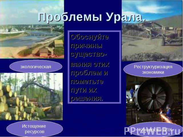 Проблемы Урала. Обоснуйте причины существо-вания этих проблем и пометьте пути их решения.