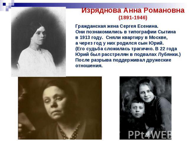 Изряднова Анна Романовна(1891-1946)Гражданская жена Сергея Есенина. Они познакомились в типографии Сытина в 1913 году. Сняли квартиру в Москве, а через год у них родился сын Юрий. (Его судьба сложилась трагично. В 22 года Юрий был расстрелян в подва…