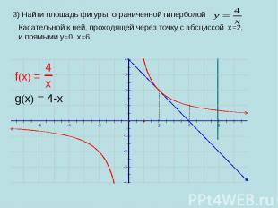 3) Найти площадь фигуры, ограниченной гиперболой Касательной к ней, проходящей ч