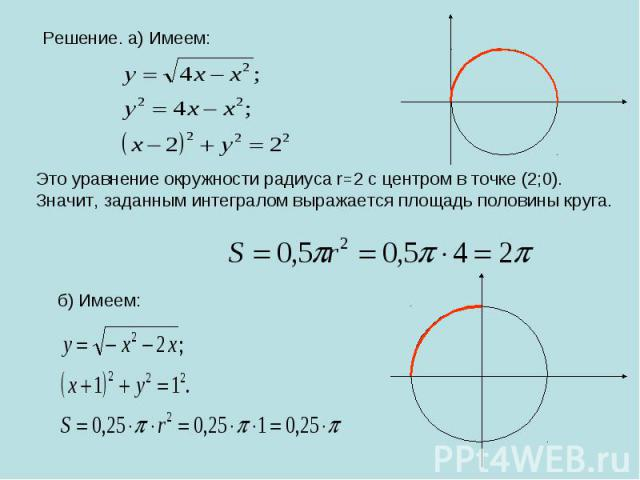 Решение. а) Имеем: Это уравнение окружности радиуса r=2 с центром в точке (2;0).Значит, заданным интегралом выражается площадь половины круга.