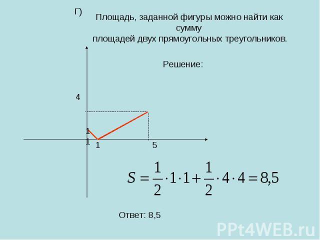 Площадь, заданной фигуры можно найти как сумму площадей двух прямоугольных треугольников.
