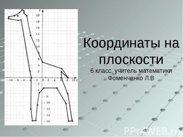 Координаты на плоскости6 класс, учитель математики Фоменченко Л.В