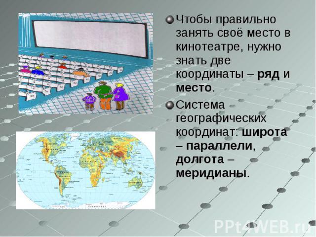 Чтобы правильно занять своё место в кинотеатре, нужно знать две координаты – ряд и место.Система географических координат: широта – параллели, долгота – меридианы.