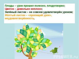 Плоды – урок прошел полезно, плодотворно;Цветок – довольно неплохо;Зелёный лис