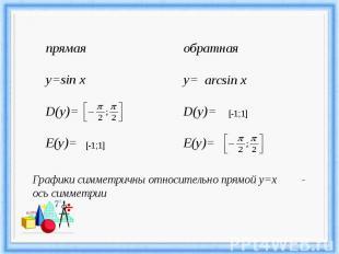Графики симметричны относительно прямой у=х - ось симметрии