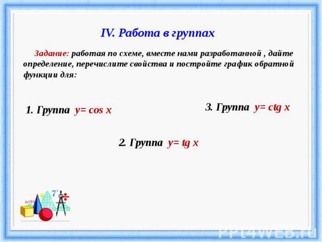IV. Работа в группах Задание: работая по схеме, вместе нами разработанной , дайте определение, перечислите свойства и постройте график обратной функции для: